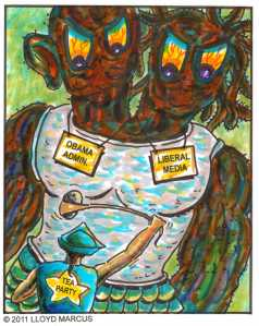 """White Tea Party David imagines a monstrous Black Two-Headed Obama and """"Lib'ral"""" Media"""