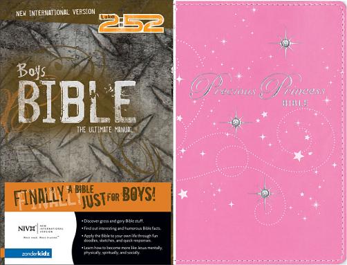 """Zondervan Boy's Bible versus Zondervan """"Precious Princess"""" Girl's Bible"""