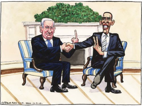 "Benjamin ""Bibi"" Netanyahu and Barack Obama (Steve Bell)"