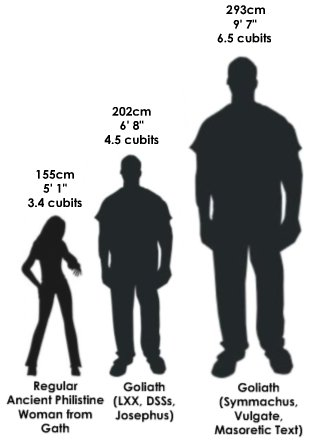 The height of Goliath versus the height of a regular ancient Philistine woman from Gath