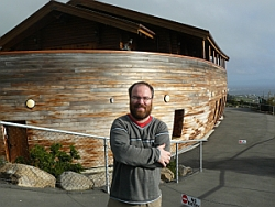 Giant photographed at Gethsemane Gardens, Christchurch, beside Noah's Ark