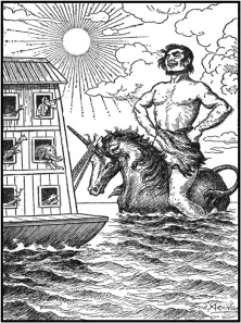 Og, riding gaily on the unicorn behind the Ark