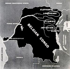 Map of the Belgian Congo, identifying the region inhabited by Giants (LIFE, 20 June 1938, p. 41)