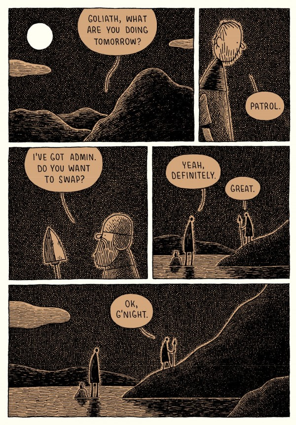 Goliath by Tom Gauld: Sans-serif font for non-biblical parts of the story