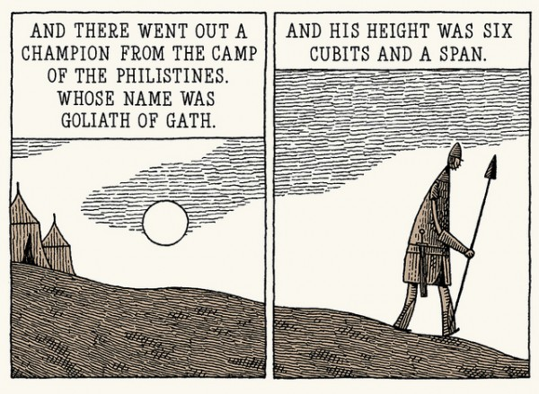 Goliath by Tom Gauld: Serif font for quotation from the Bible