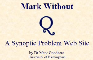"The title to Mark Goodacre's ""Mark Without Q"" website, ca. April 1999."