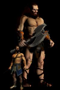 King Og of Bashan depicted against ordinary Israelite
